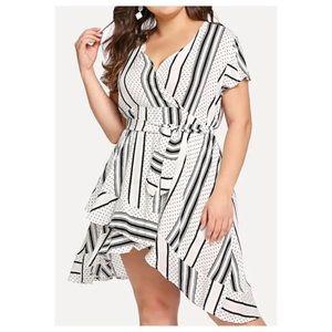 Dresses & Skirts - ➕Mixed Print Asymmetrical Hem Dress